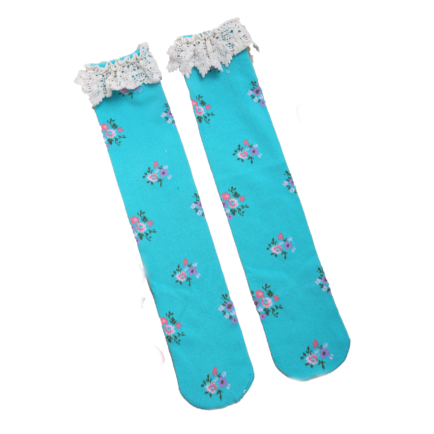30aebf21684 Detail Feedback Questions about Baby Girls Teens Little Lace Flower High  Socks Knee High In Tube Sock blue on Aliexpress.com