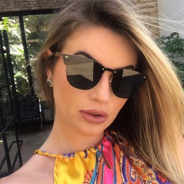 HBK 2018 Moda Olho de Gato Óculos De Sol Avaitor Mulheres Marca de Luxo  Designer de 05b660f6fd