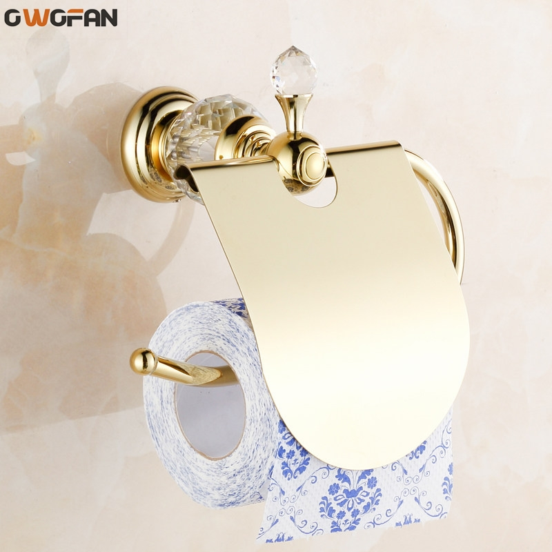 Paper Holder Glass Crystal Decorative Brass Toilet Roll Holders Waterproof Tissue Chrome Finish Bathroom Accessories 4564K