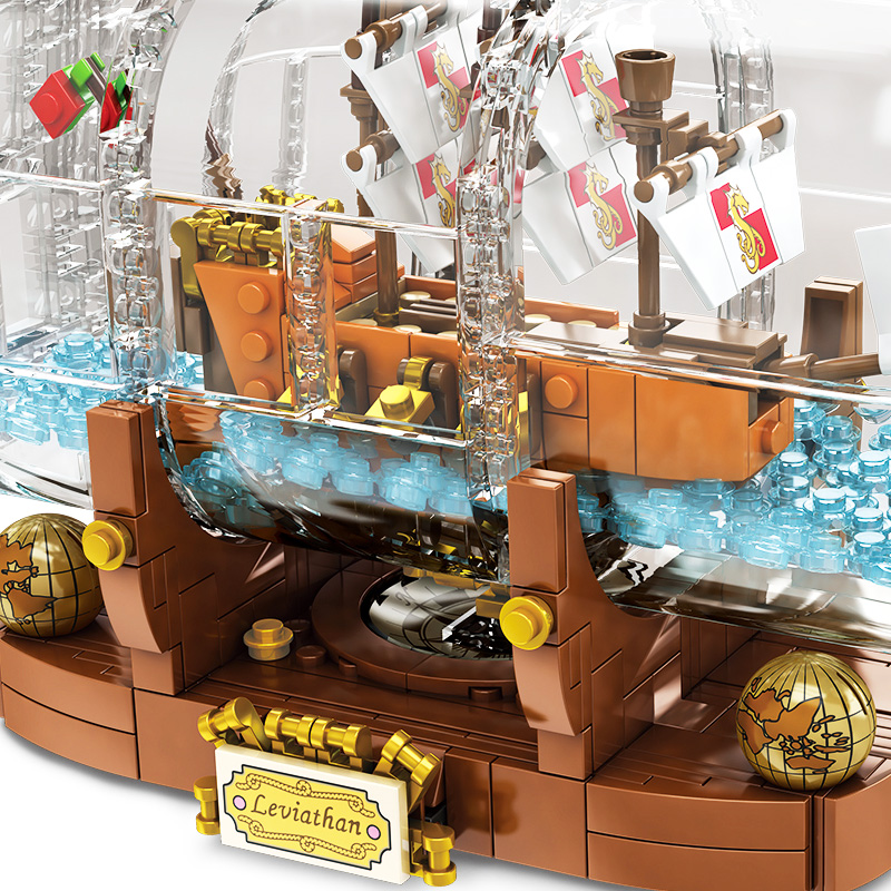 Image 5 - 1078Pcs Light Technic Idea Ship Boat In A Bottle Compatible legoinglys 21313 playmobil Building Blocks Bricks Toys for Children-in Blocks from Toys & Hobbies