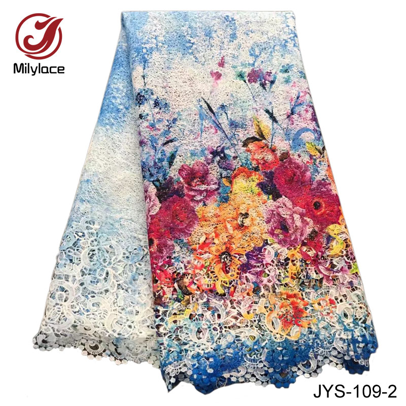 African flowers printed guipure lace fabric 5 yards water soluble garment dress lace fabric JYS 109