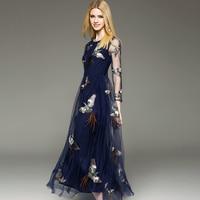 2016 Brand New Fashion Women Summer Casual Elegant Three Quarter Sleeve O Neck Bird Embroidery Mesh