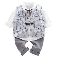 3PCS WLG boys spring clothing set kids fashion striped vest white shirt and pant set baby all match clothes children 9 36 months