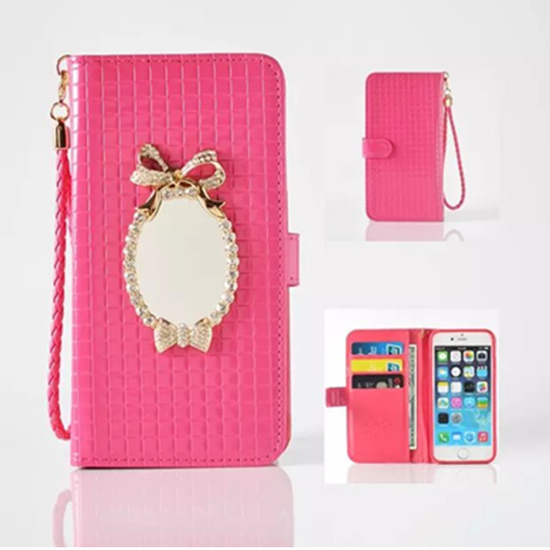 newest 67af0 a3c12 US $12.76  Princess Cosmetic Mirror Leather Mobile Phone Cases For Iphone 6  6s plus Wallet Case Cover For Apple Iphone 6s plus W/ Card Bag on ...