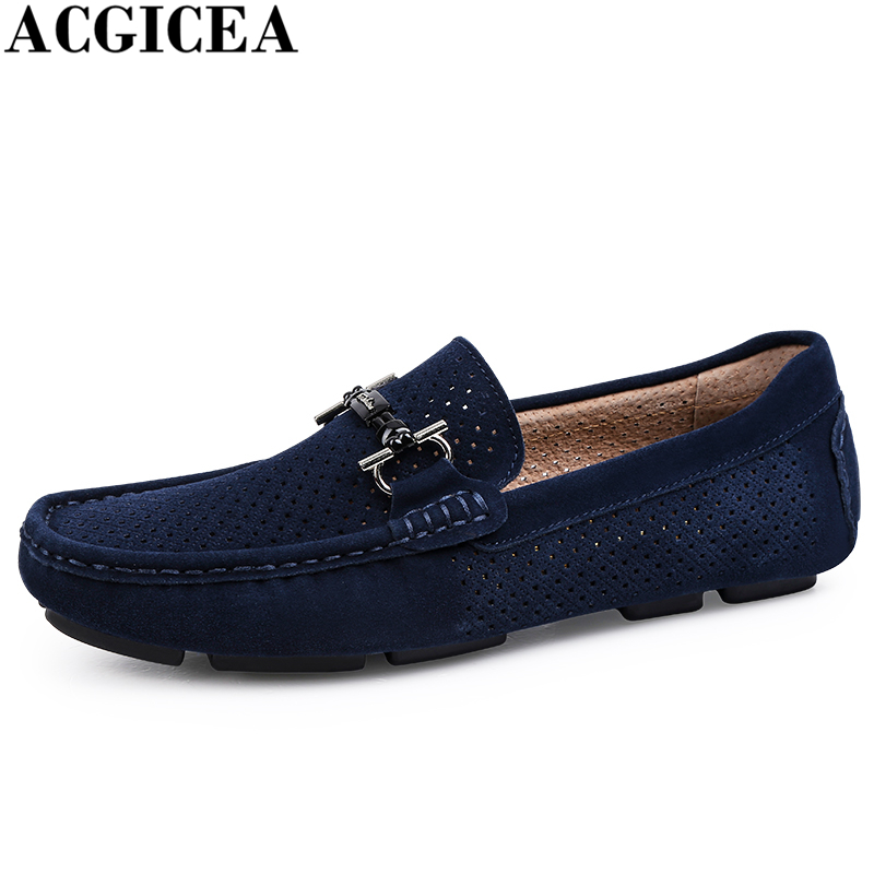 Hot Sale Fashion Men Driving Shoes Mens Slip On Breathable Hollow Out Boat Shoes Moccasin Casual Men Loafers Gommino Size 38-44