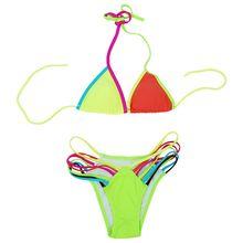 e07cae42dc brave person Women s Bandage Triangle Neon Bikini Set Swimsuit Bathing Suit  Beach