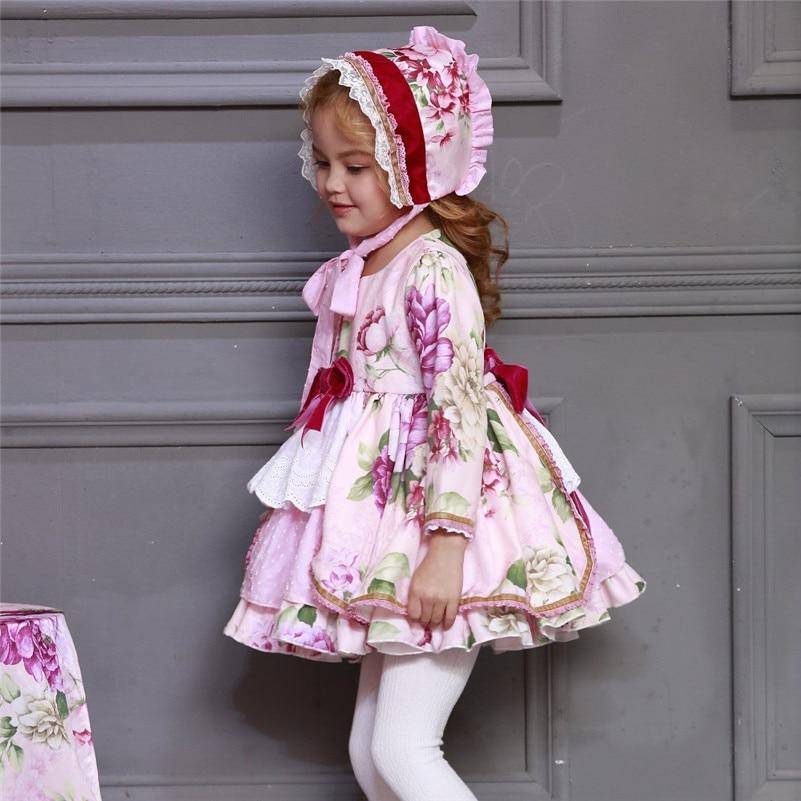 En gros enfants Boutique robe florale pour filles enfants espagnol Palace à manches longues robe ensembles bébé anniversaire mignon robe de bain G046 - 4