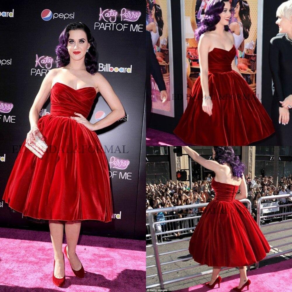 Katy Perry Tea-Length Red Velour Sweetheart Short Party Prom Gown Vestido De Festa New Robe De Soiree 2018 Bridesmaid Dresses
