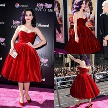 Katy Perry tea-Length Red Velour Party Dress Sweetheart Short Red Carpet Gown Vestidos De Festa New Fashion prom dresses 2015 цена и фото