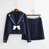 Japanese Girls Sailor School Uniform Orthodox JK Student Navy Four Seasons Cotton Clothing Bow Uniform Cute Snowflake Uniform