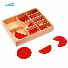 Baby Toy Montessori Cut Out Labeled Fraction Circles 1 10 Teaching Aids Wood Board Education Preschool
