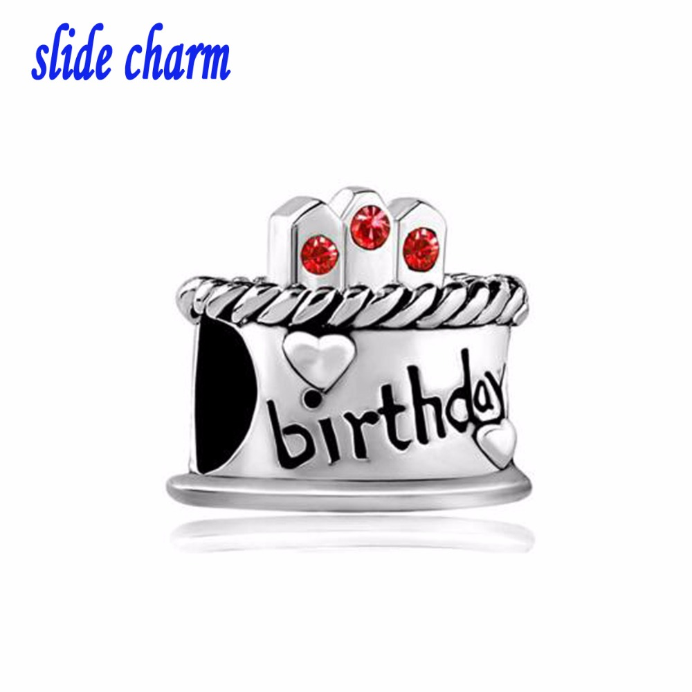 Slide Charm Free Shipping Christmas Birthday Cake Beads Fit