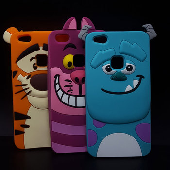 3D Cartoon Soft Silicone Cover For Huawei P10 Lite Tigger Marie/Alice Cat Tiger /Sulley Monsters Rubber Phone Cases winnie the pooh iphone case