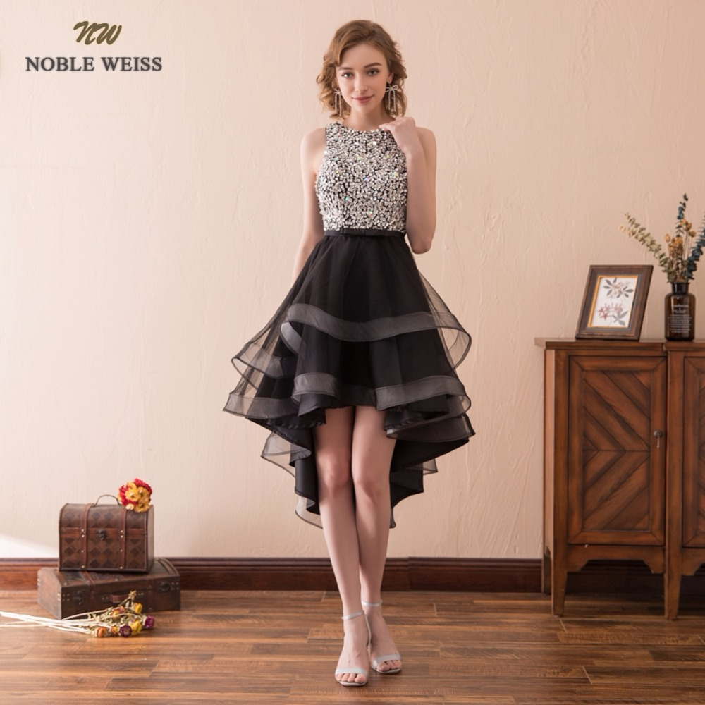 NOBLE WEISS Black Short Prom Dress Beading Short Front Long Back Junior School Prom Gown Sexy Tulle Special Occasion Dresses