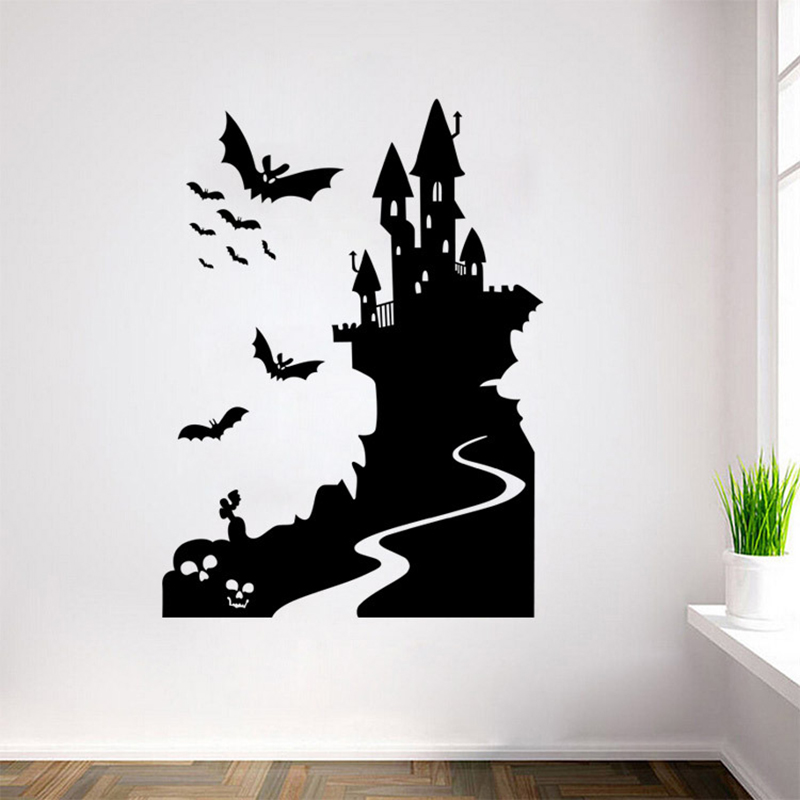 Happy Halloween Wall Sticker Home Decor Skull Castle Pumpkins Bats Stickers  For Party Kids Gift Poster