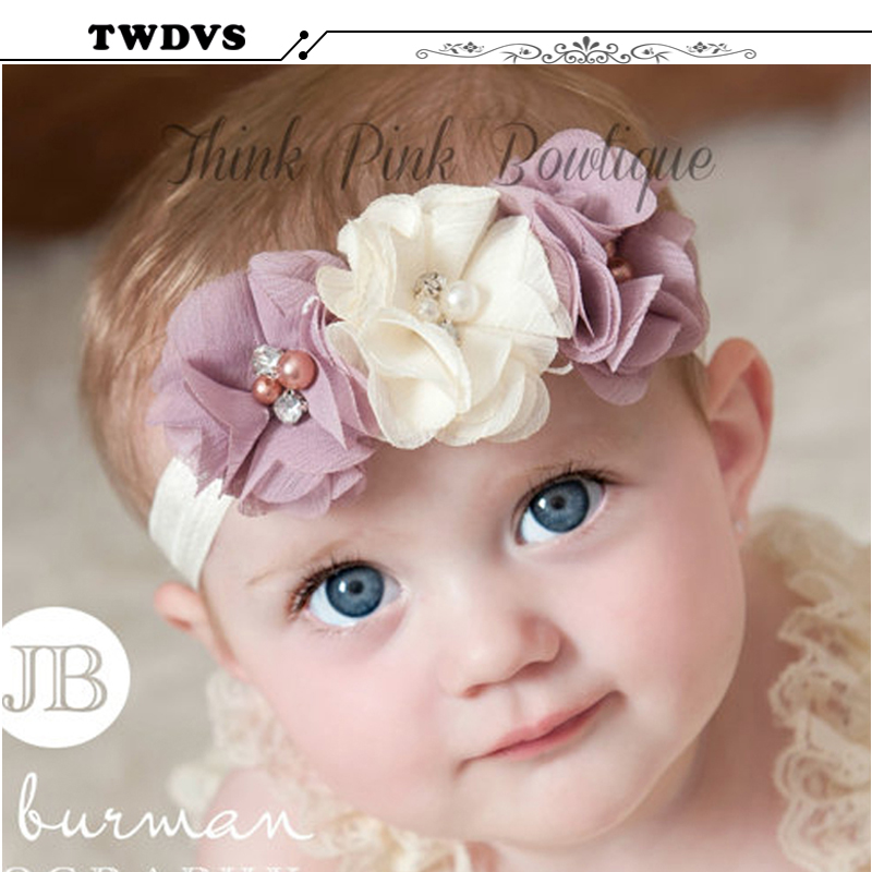 2018 1PC Newbown Baby Hair Bands Rhinestone Ribbon Pearl diamond  Baby Flowers Headband Kids Hair Accessories Children Headwear