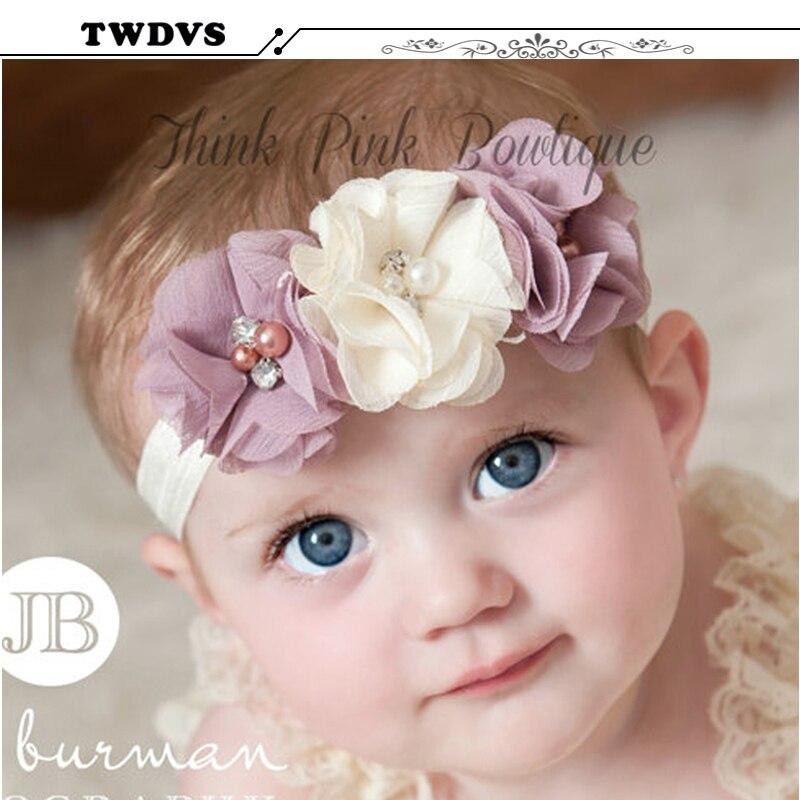 2018 1PC Newbown Baby Hair Bands Rhinestone Ribbon Pearl diamond Baby Flowers Headband Kids Hair Accessories Children   Headwear