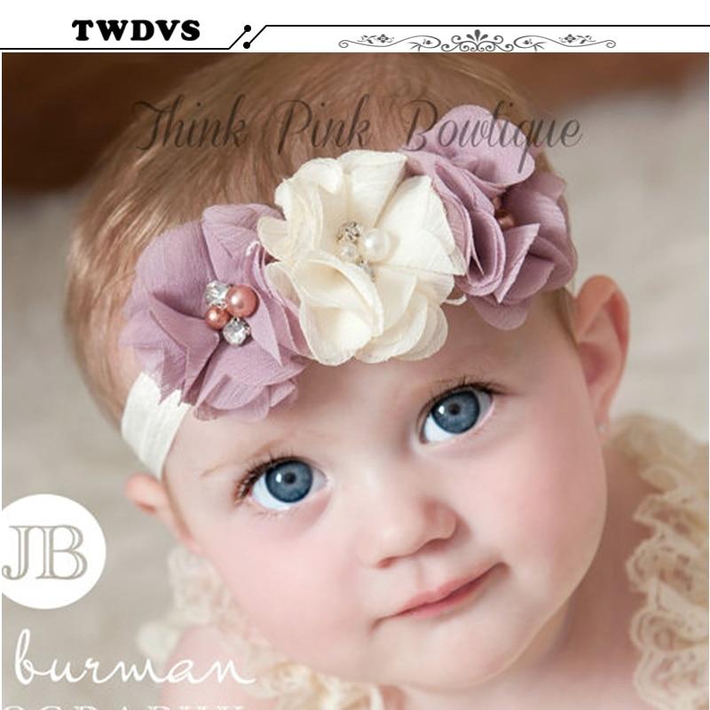 2016 Baby Rhinestone  Ribbon Pearl diamond Baby Girls Hand sewing Flowers Headbands Kids Hair Accessories  W045