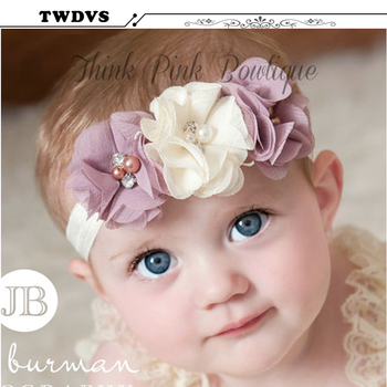 TWDVS Newbown Hair Bands Rhinestone  Ribbon Pearl diamond  Flowers Headband Kids Hair Accessories Headwear