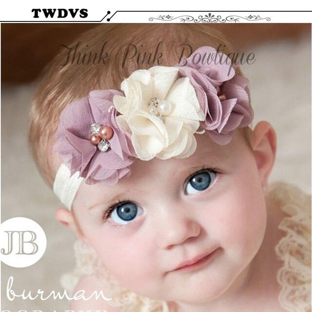 TWDVS Newbown Hair Bands Rhinestone  Ribbon Pearl diamond  Flowers Headband Kids Hair Accessories Headwear