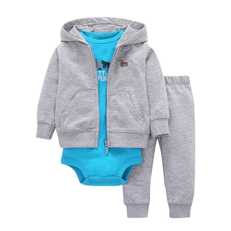 2019 Eladó Promóciós kabát + nadrág + bébi Romper Őszi téli szettek 6 ~ 24 hónapos Baby Boys Gilrs Ruházat 100% pamut bébi csecsemő