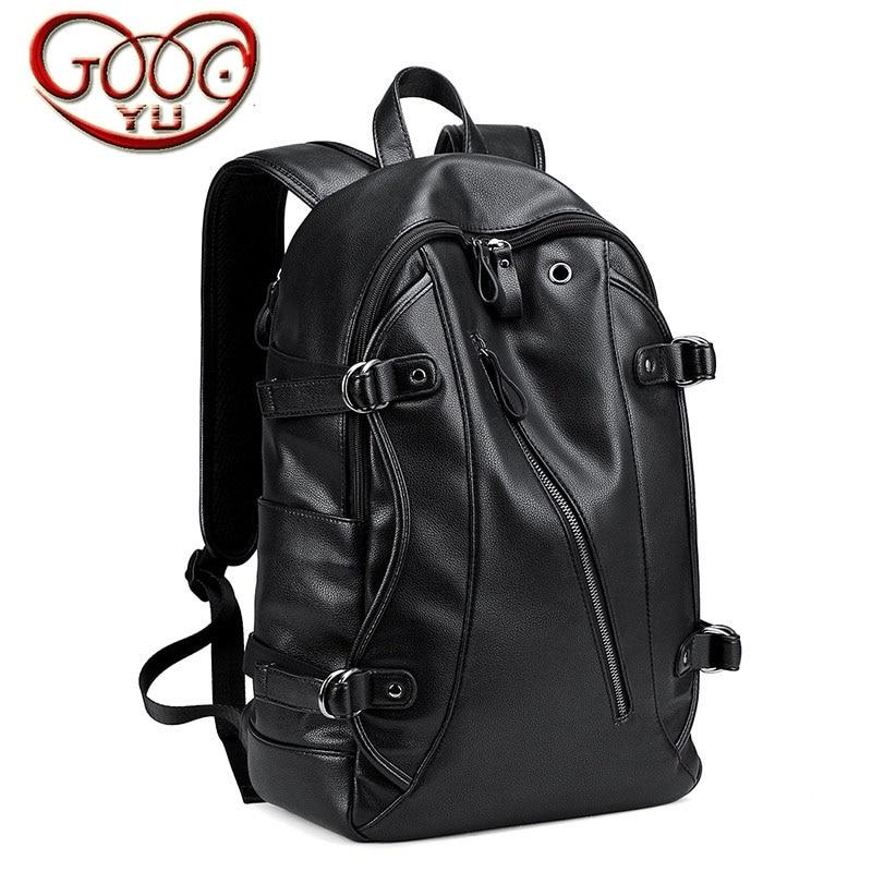Fashion trend PU leather men 's shoulder bag leisure travel large capacity men' s backpack fashion student bag