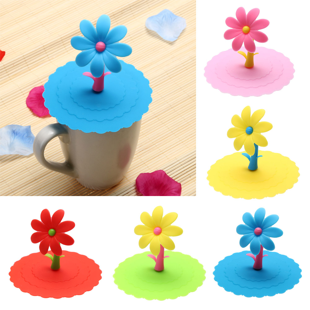 1pcs Sunflower Cup Lid Dustproof Reusable Silicone Cup Lid DIY Insulation Cup Cover Home Drinkware Cups Lid E5M1