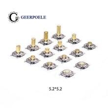 Interruptor tático, 5.2*5.2 alto 1.5-6.0 interruptor tátil de 4 pinos de metal smd tático 12v micro botão de pressão interruptor de pés de cobre