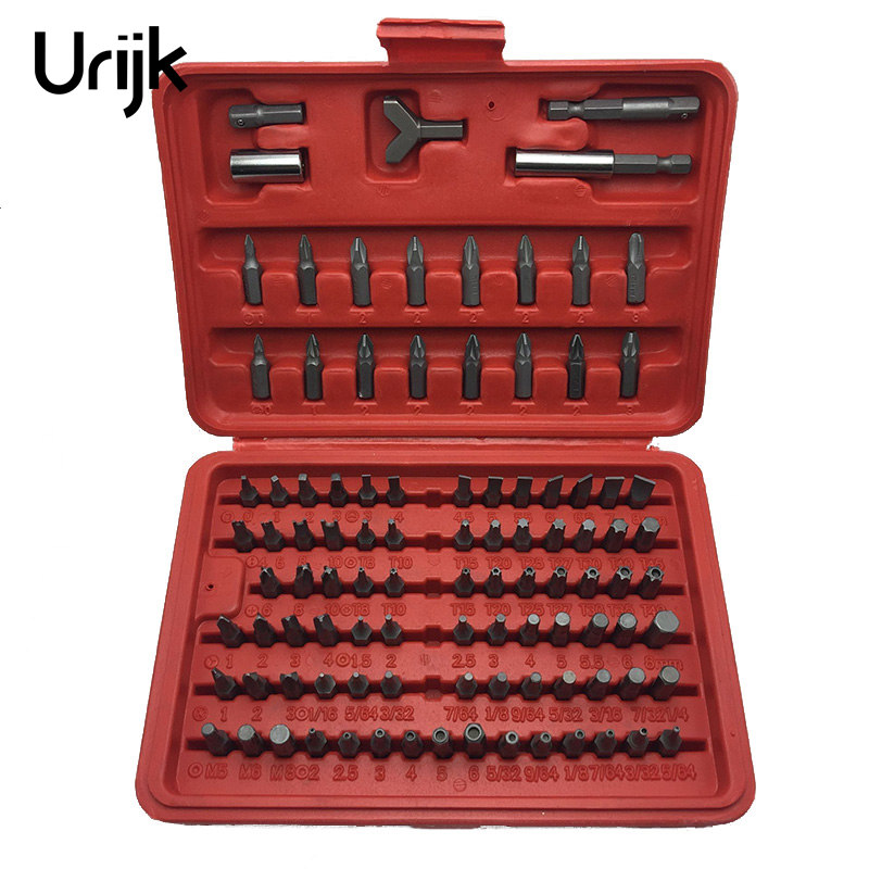Urijk 100Pcs/Set Screw Extractor Drill Bits Guide Set Electric Screwdriver Socket Adapter Damaged Bolt Remover Capentry Tool Box urijk 1set best quality multifunctional electric drill impact drill household electric woodworking hardware hand tool sets