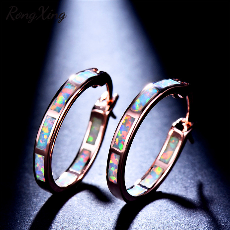 RongXing White Fire Opal Rose Gold Hoops Earrings for Women Vintage Fashion  Mystic Rainbow Birthstone Earrings Wedding Jewelry-in Hoop Earrings from  Jewelry ... 2ff224a264ce