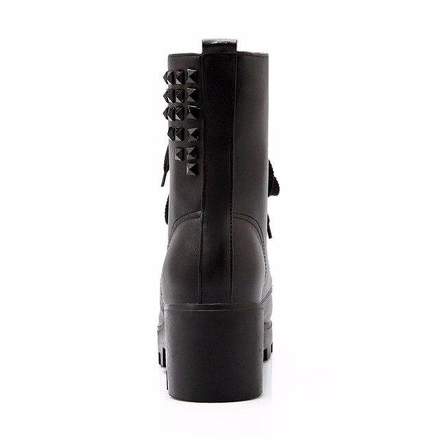 Autumn Winter Platform Square Med Heels Ankle Boots Women Short Boots Ladies Shoes botas botte femme Plus Size 34-40.41.42.43