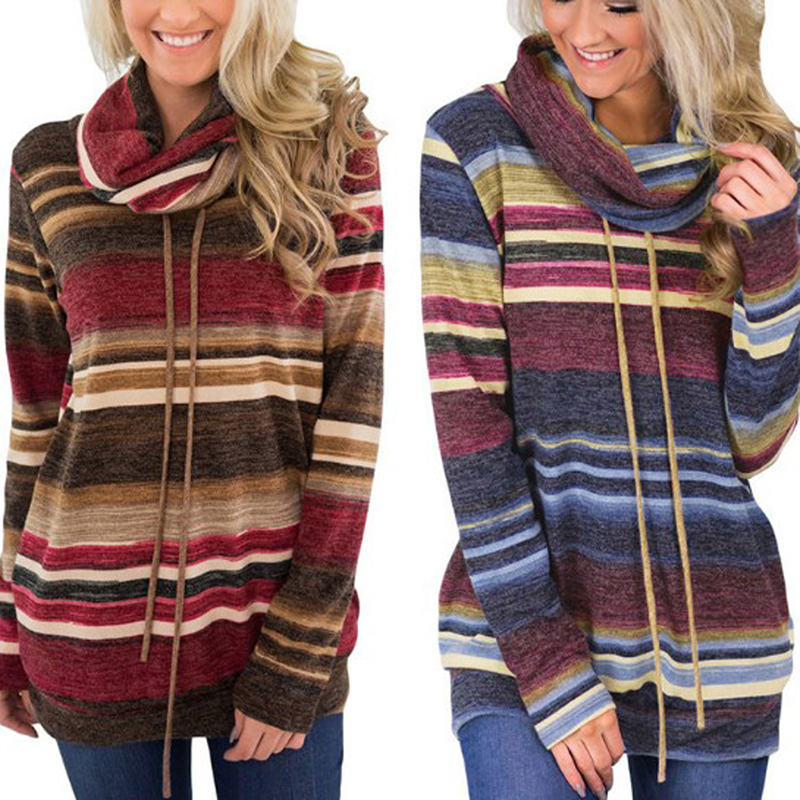 Long Sleeve Striped Women Sweater Autumn Fashion Sweater Women Casual Patchwork Color Block Lace Up Women Pullover