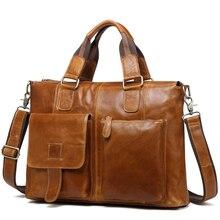 Large Business Travel Handbags Men Genuine Leather Messenger Bags Brown Male Design Laptop Bag Office Shoulder