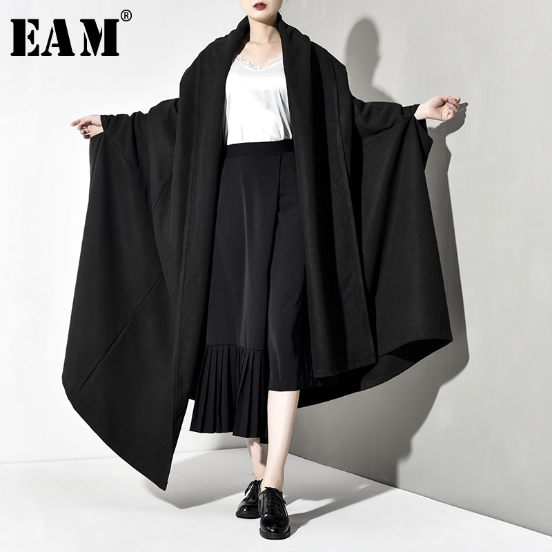 [EAM] Loose Fit Oversize Long Thick Cloak Woolen Coat Parkas New Long Batwing Sleeve Women Fashion Tide Spring Autumn 2020 JZ200