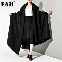 [EAM] Loose Fit Oversize Long Thick Cloak Woolen Coat Parkas New Long Batwing Sleeve Women Fashion Tide Spring Autumn 2020 JZ200
