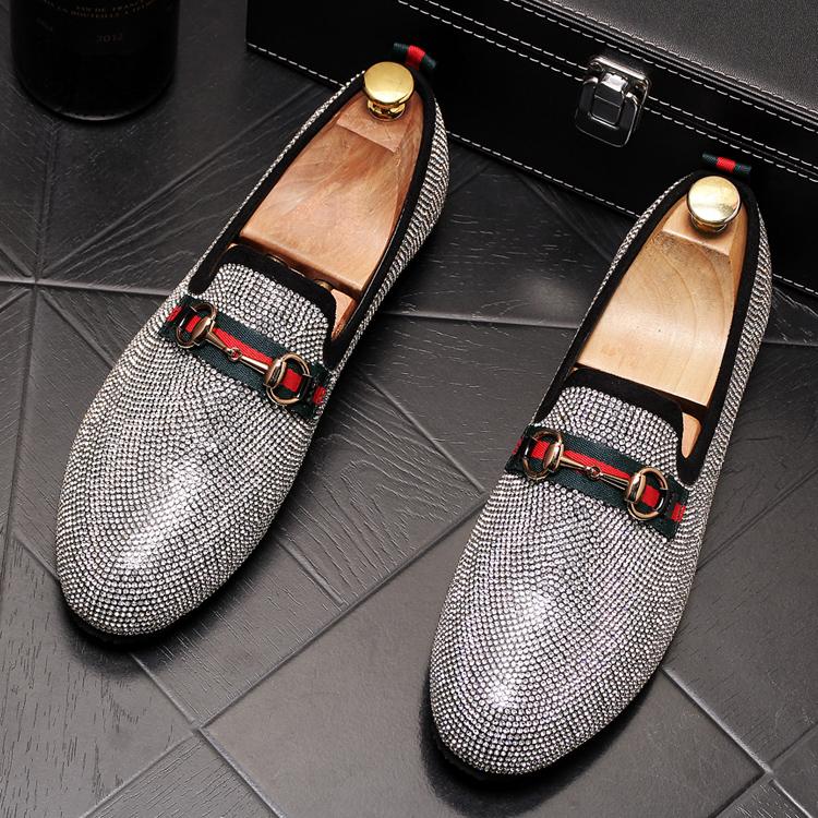 Mens Luxury Designer Fashion Leader Rhinestone Charm Platform Shoes Hip Hop Rock Prom Homecoming Zapatos Hombre Moccasins 47