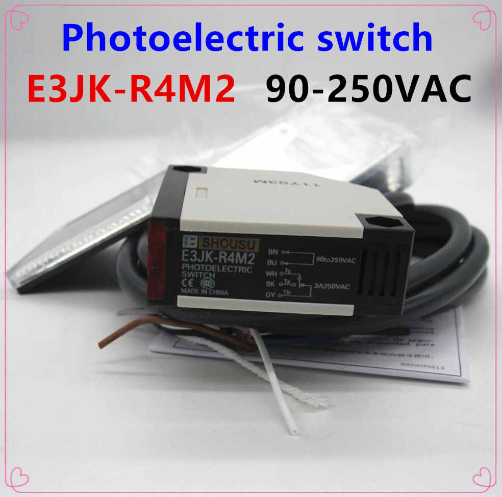 hight resolution of e3jk r4m2 new photoelectric sensor switch 90 250vac 5 wires high quality with reflector plate warranty for one year in switches from lights lighting on
