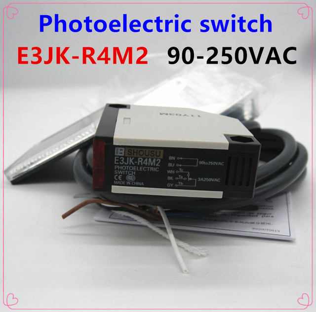 e3jk r4m2 new photoelectric sensor switch 90 250vac 5 wires highe3jk r4m2 new photoelectric sensor switch 90 250vac 5 wires high quality with reflector plate warranty for one year