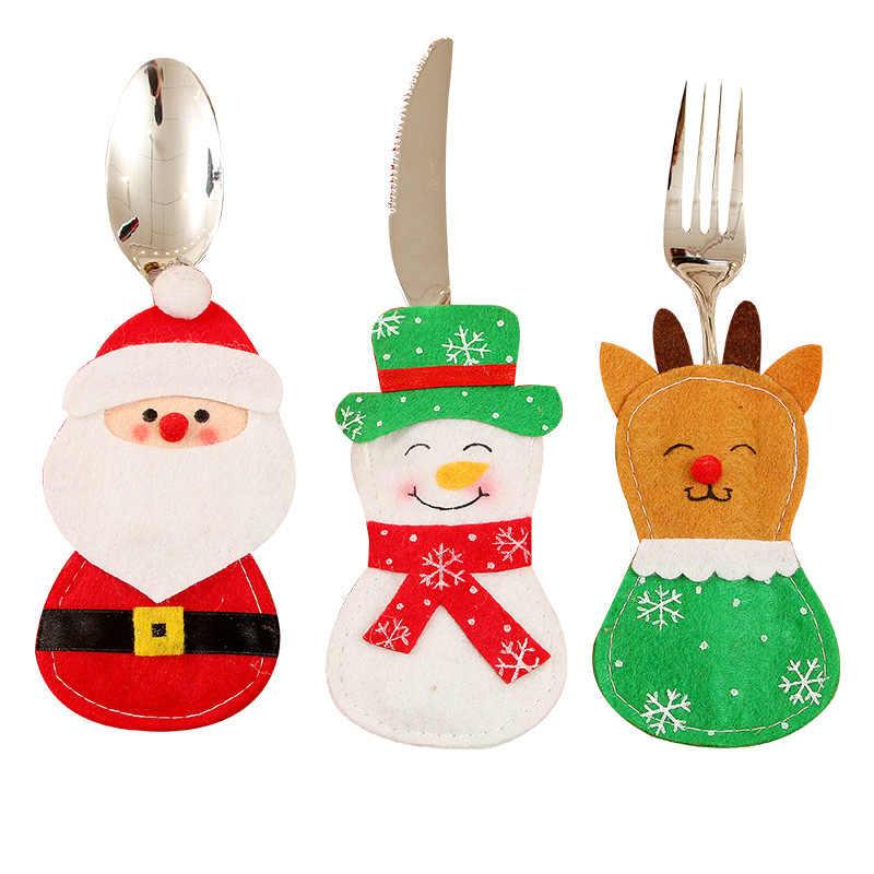 Santa Hat Reno Navidad Año nuevo bolsillo tenedor cuchillo cubiertos bolsa fiesta en casa Decoración de mesa de cena vajilla 62249
