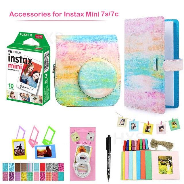 Fujifilm Instax Mini 7s/7c Accessories Includes White Film + PU Leather Camera Case Bag + Album+Photo Frames+Selfie Lens+Marker