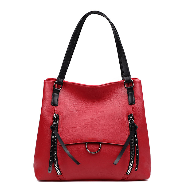 New Doubke Zipper Pocket Top-Handle Bags For Women 2018 Luxury Big Tote Designer Handbags High Quality PU Leather Bag Sac A Main tassels pu leather pocket tote bag page 3