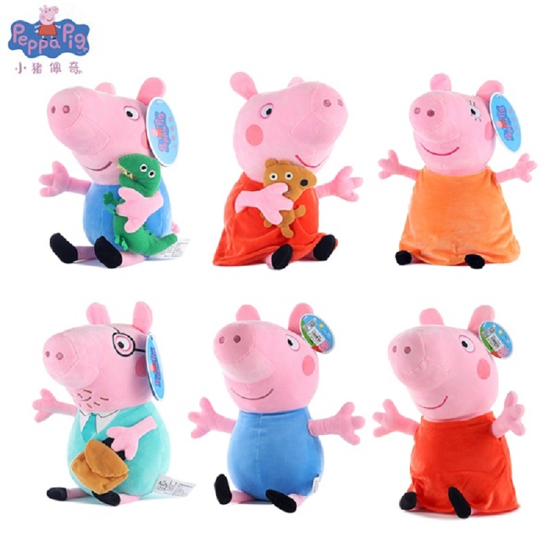 Peppa pig George pepa Pig Family Plush Toys 19cm Stuffed Doll & peppa pig bag Party decorations SchoolbagToys For Children