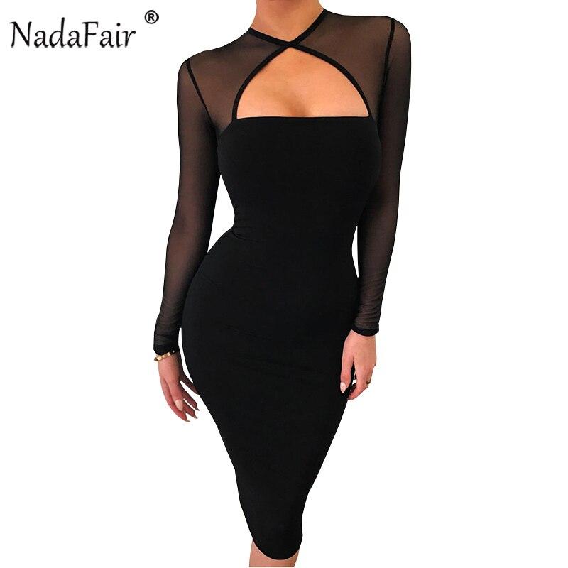 Nadafair Low Cut Mesh Long Sleeve Sexy Bodycon Club Dress Women Black Elegant Midi Party Dress
