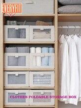 Everyfit Foldable Storage Box Clothes Cabinet Bin Cotton Linen Wardrobe Sundries Organizer Container New