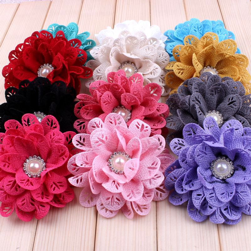 120pcs lot 3 8 12 Colors New Hot Fabric Flowers For Princess Hollow Out Leaf