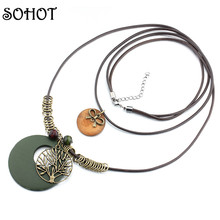 SOHOT Vintage Popular Life Tree Anchor Charms Wood Pendant Long Necklace Two Laps Rope Sweater Bijoux Accessory Female Lady Gift
