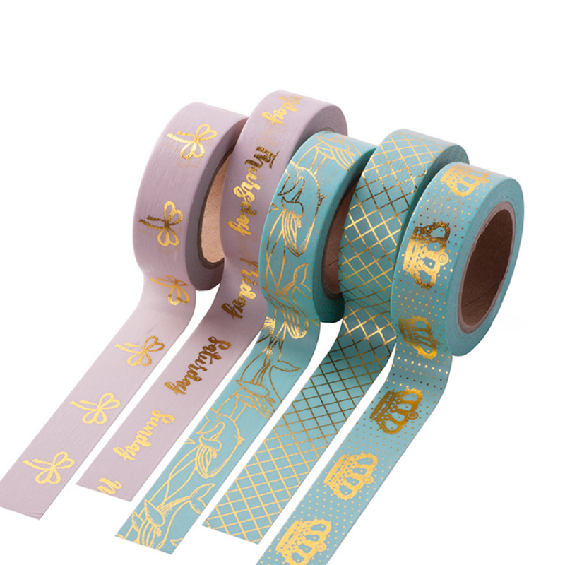 1 Pcs Kawaii 15mmx10m Colorful Gold Foil Washi Tape DIY Gilding Masking Tape Scrapbooking Paper Adhesive Tapes Stationery