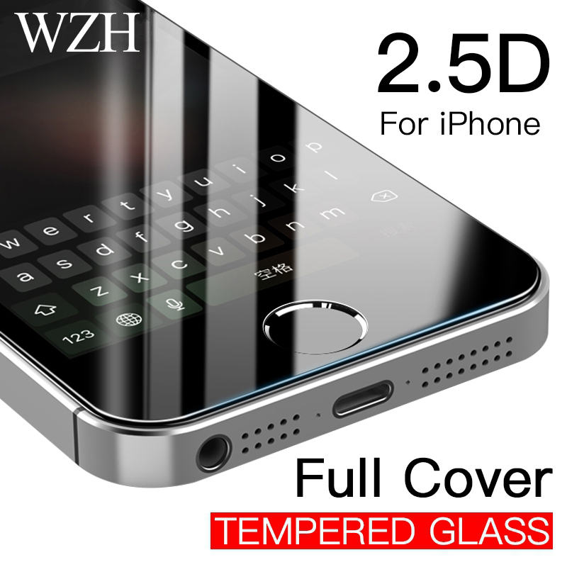9H Tempered Glass Screen Protector Case For <font><b>iPhone</b></font> 7 7Plus 4 <font><b>4S</b></font> 5 5S 5C 5SE 8 X 6 6S Plus XR Xs Max <font><b>Cover</b></font> Phone Protective <font><b>Film</b></font> image