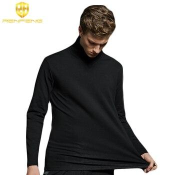 2018 Jesień Zima Elastyczna Bawełna T koszula Moda Męska Z Długim Rękawem Podkoszulki Termiczna Homme Ubrania Turtle Neck Bielizna męska
