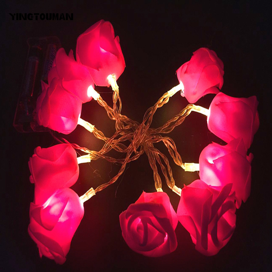 YINGTOUMAN 4M 30LED Rose Type Battery Powered Christmas Party Lights Garden String Light ...